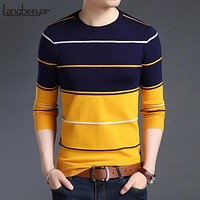 Men Striped Slim Fit Knitted Woolen Clothes