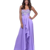 2014 Prom Dresses - Lilac Chiffon Sequin Beaded Strapless Sweetheart Long Dress