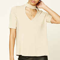 Mock Neck Keyhole Cutout Top