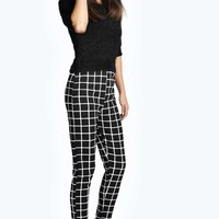 Amy Grid Print Trousers