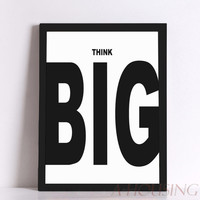 Quote Think Big Quote Canvas Art Print Poster, Wall Pictures for Home Decoration, Frame not include FA287
