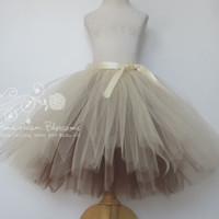 Champagne Bridesmaid Tulle Skirt Tea Length Adult Brown Beige Long Tutu Teen Tan Bridesmaid Skirt Ribbon Bow Wedding American Blossoms