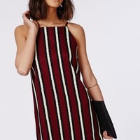 Missguided - Woven High Neck Strappy Shift Dress Burgundy Stripe