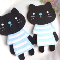 Black cat t-shirt sticky note meow meow blue shirt memo pad cute animal stationary Pet cat pussy cat lovely cat gift mini t shirt memo paper