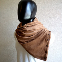 Men Infinity scarf with snaps fastener, Vegan cowl, hoodie, caramel FAUX SUEDE, super soft, lightweight and cozy,Extra WIDE.Ready To SHIp.