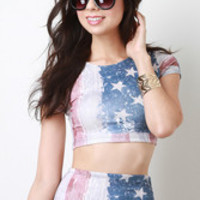 Flag Crop Top Color: American Flag, Size: S
