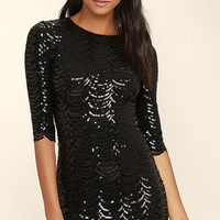 Star Dust Black Sequin Bodycon Dress
