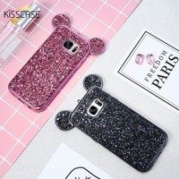 KISSCASE 3D Mickey Mouse Phone Cases For Samsung S8 S7 Edge S6 Coque Glitter Silicon Cover Case For iPhone 6 6s Plus 7 5 5s Capa