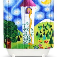 DiaNoche Designs Shower Curtains by Nicola Joyner Njoy Art Unique, Cool, Fun, Funky, Stylish, Decorative Home Decor and Bathroom Ideas - Rapunzels Tower