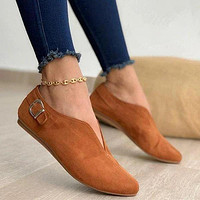 2020 Pointed Toe Suede Women Flats Shoes Woman Loafers Summer Fashion Sweet Flat Casual Shoes Women Zapatos Mujer Plus Size35-43