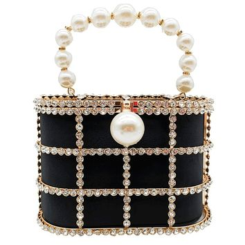 Shinny Studded Pearl Clasp Basket Style Evening Clutch Bag