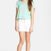 Girl's Soprano Lace Trim Slub Tee