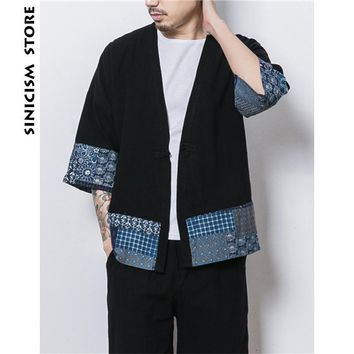Trendy Sinicism Store Mens Jacket Coat Summer Thin Kimono Cardigan Coat Japan Vintage Windbreaker Patchwork Male Jackets Clothes 2018 AT_94_13