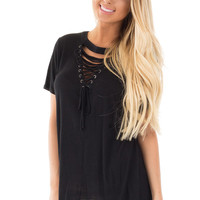 Black V Neck Tee with Criss Cross Tie Detail