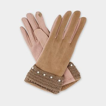 Pearl Detail Faux Suede Smart Touch Gloves (Click For More Colors)