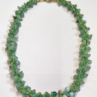 Mint Green Beadwork Necklace - Green and Yellow Seed Bead Patterned Bracelet - Spiral Rope Design - Minty Rock Necklace