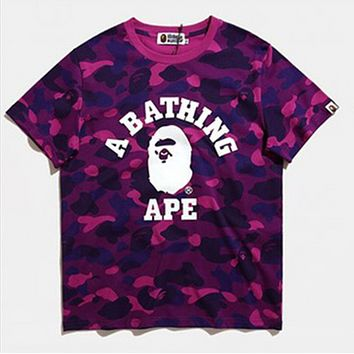 Bape Aape Summer Fashion New Letter Print Camouflage Women Men Top T-Shirt Purple