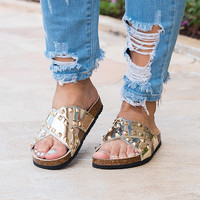 Studded Gold Criss Cross Sandals