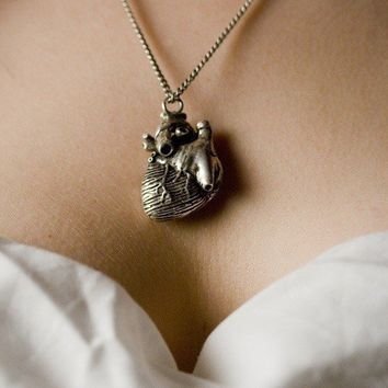 Anatomical Heart Jewelry in Antique Silver on an 36 by billyblue22