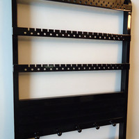 Jewelry Holder, Ring Holder, Boutique Quality & Design, Maple, Wood, Black Cabinet Grade Paint, Holds 54-108 Pairs, 16 Pegs, 20 Rings