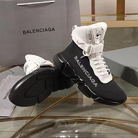 Balenciaga SpeedTrainers Black/ White With Black Sole Unit Sneakers