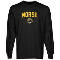 Northern Kentucky University Norse Mascot Logo Long Sleeve T-Shirt - Black