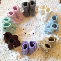 Baby Booties MANY COLORS- SIZES featuring Button Closure, Hand Crochet Shoes, Featuring two Buttons on each Boot