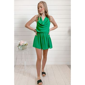 Green With Envy Cowl Neck Romper