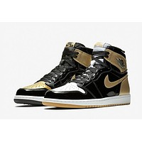 Nike Air Jordan 1 High OG NRG Retro Gold Top 3 AJ 1 Men Sneakers ComplexCon Sports Shoes 861428-001