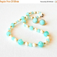 SALE Vintage Lucite Jewelry Set, 1970s Necklace & Earrings, Aqua Blue, Cream, Lucite Beaded Necklace. Matching Button Earrings.