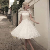 Wedding  Dresses 2015 Vintage Plus Size Scoop Lace Short Wedding Dresses Garden Bridal Gown