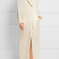 Lanvin - Satin-trimmed washed-twill gown