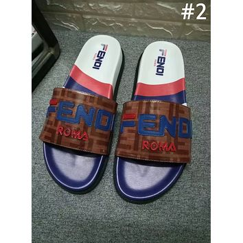 Fendi 2019 new street fashion men and women decals casual beach sandals shoes #2