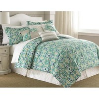 Amrapur Natasha Green Floral Mediumallion 8 Piece Comforter Set In Jade