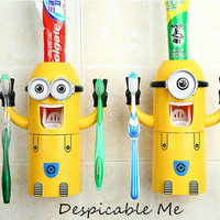 Cute Minions Design Toothbrush Holder Automatic Toothpaste Squeezer Dispenser Wash Brush Cup Despicable Me Bathroom Set
