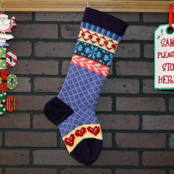 Purple Christmas Stocking, Hand Knit with Blue Flowers and Red Hearts, Fair Isle Knit, Can be Personalized, Housewarming Gift, Shower Gift