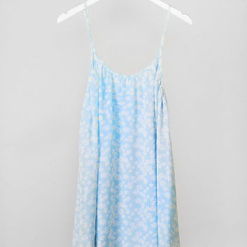 Spaghetti Strap Daisy Print Shift Dress - Light Blue/White