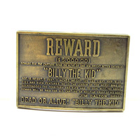 Brass Belt Buckle Reward Billy The Kid Gift Idea Jean Fashion Wear Vintage 1970 Western Wear Fathers Day Mens Accessories Wanted Poster