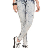 LOVEsick Blue Acid Wash 2-Button Skinny Jeans | Hot Topic