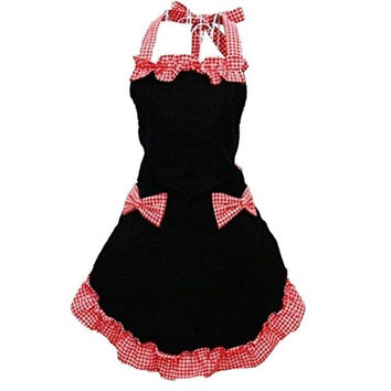 New Classical Sweet Cotton Grid Pattern Working Chefs Kitchen Cooking Cook Women's Bib Apron with Bowknots = 1930230340