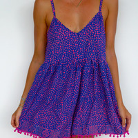 Pom Pom Jumpsuit / Playsuit, Short Beach Dress, Cobalt and Hot Pink Polka Dot Print Skort Shorts