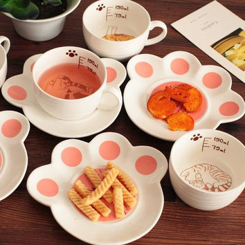 Cute Cat Ceramic Cup Paws Tray