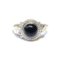 Abby Black Onyx Ring (Sterling Silver)