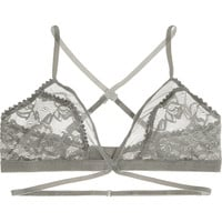 Lonely - Winona lace, tulle and velvet soft-cup triangle bra