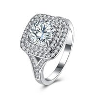 2.50 ct Cushion Double Halo Square Engagement Ring