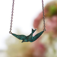 Soaring Bird Necklace. Antiqued Brass Flying Sparrow Bird Necklace. Blue Verdigris Patina Bird Necklace. Vintage Style Necklace