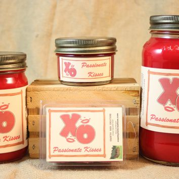 Passionate Kisses Scented Candles and Wax Melts, Highly Scented Candles and Wax Tarts, 26 oz, 12 oz, 4 oz Jar Candles or 3.5 Clam Shell Wax Melts