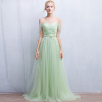 Light Green Off Shoulder Backless Evening Gown Maxi Dress