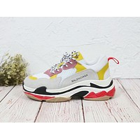Balenciaga Mixed Colors Retro Popular Women Sport Shoes Sneakers Grey&Yellow I-MLDWX