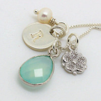 March birthday gift 925 Sterling Silver March Birthstone Initial necklace Aqua blue chalcedony unique custom personalized gifts for her